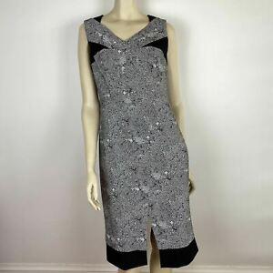 David Lawrence Womens Grey Black Classic V Neck Pencil Dress Size 10 A7