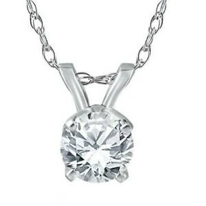 1-2-Ct-Solitaire-Round-Diamond-Pendant-14K-White-Gold-w-18-034-Chain