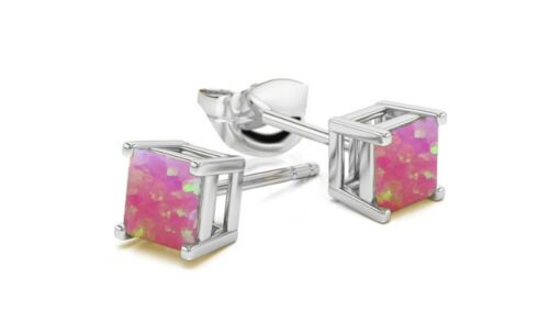 925 Silver Charm Blue /& white Fire Opal Square Cut Earrings Stud Women Jewelry