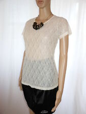 Womens Vtg Beige Casual Floral Lace Sheer Classic Short Sleeve Blouse sz L AE32
