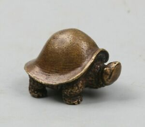 40MMCollect-China-Bronze-Animal-Long-lived-Tortoise-Turtle-Amulet-Pendant-Statue