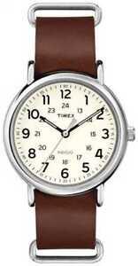 Timex-Originals-Weekender-Bruine-Lederen-Band-T2P495-Horloge
