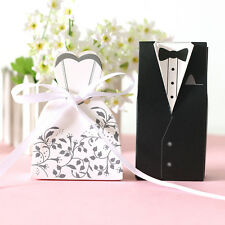 Wedding Party Favor Dress & Tuxedo Bride and Groom Ribbon Candy Gift Box 100PCS