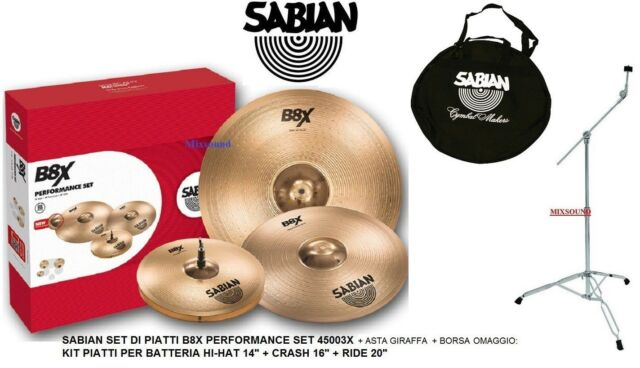 SABIAN B8X 45003X Performance Set PIATTI HI-HAT14 CRASH 16 RIDE 20 +ASTA E BORSA