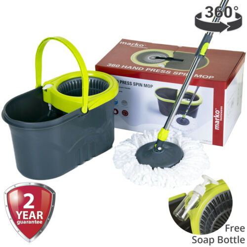 360 ° Spin Mop /& Bucket Set Presse à Main Microfibre Chiffon Home Nettoyeur haute qualité