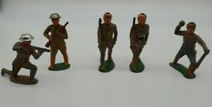Lot-of-5-Barclay-Manoil-World-War-1-WWI-Metal-Lead-Toy-Soldiers