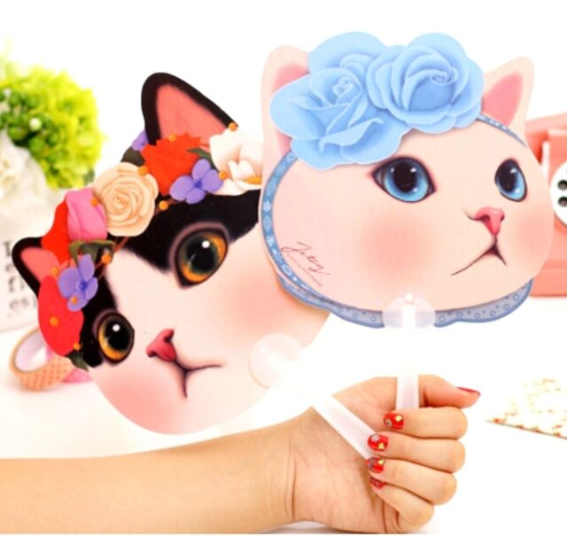 FD2561 Sweet Cute Cat Kitten Face Fans Useful Summer Outdoor Portable Fans 1pc