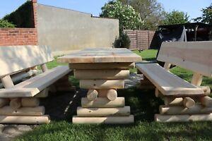 Details Zu Rustikal Sitzgruppe Sitzgarnitur Holz Garten Tisch Gartenmöbel Set Massiv