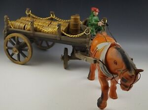 CAST-IRON-1-HORSE-DRAWN-WAGON-WITH-BARRELS-AND-RIDER-TOY-LARGE-23-039-039