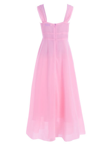 Girls Chiffon Junior Bridesmaid Dress Long Wedding Gown Dance Ball Maxi Dresses