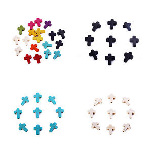 Mixed-Color-40pcs-Cross-Stone-Loose-Spacer-Beads-Charm-Fit-DIY-Bracelet-Making