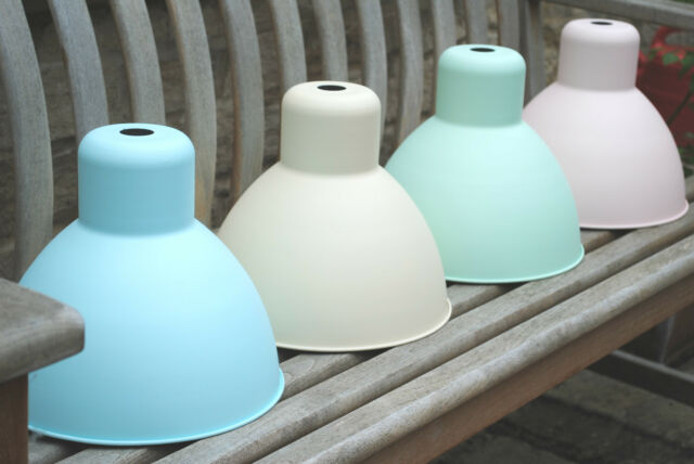 Factory Industrial style Metal Dome Bell LAMPSHADE Retro pink blue cream pastel