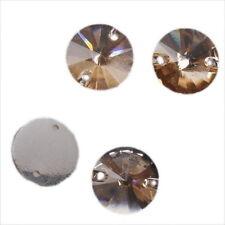 100pcs Golden Sew-on Faceted Flatback Embellishments Button Applique 12mm L
