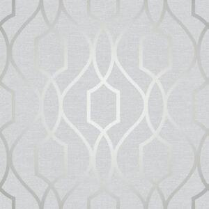 Apex-geometrico-Enrejado-Papel-Pintado-Gris-Piedra-PLATA-Fine-Decor-fd41995