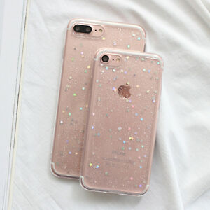 For Apple iPhone 5S/6S/7/8 plus Bling Glitter Sparkly Soft Gel Phone Cover Case