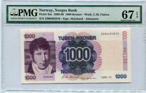 Norway 1000 Kroner 1989-90 P 45 Superb Gem UNC PMG 67 EPQ