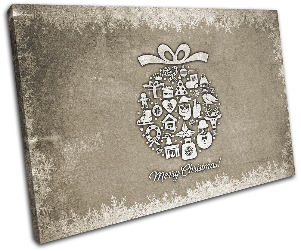 Christmas Decoration Decoration Decoration Wall Canvas ART Print XMAS Picture Gift Chalk 02 Cream Chri 180fbb
