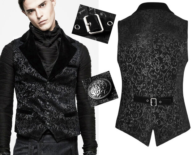Gilet veste gothique baroque dandy jacquard velours costume Punkrave homme Noir