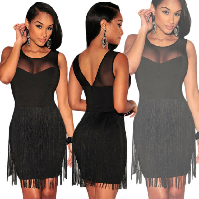 Vestito corto elegante sexy mini abito da sera donna cerimonia nero party D21986