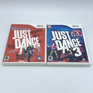 Just Dance 1 & Just Dance 3 Game Lot (Nintendo Wii) Complete With Manual CIB