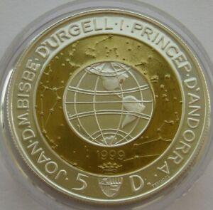 1999-Andorra-Silver-5-Dinars-1999-Bi-Metallic-Proof-Coin-Millennium-Collection