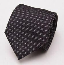 New $225 BATTISTI NAPOLI Black-White Woven Pindot Pattern Silk Tie Handmade