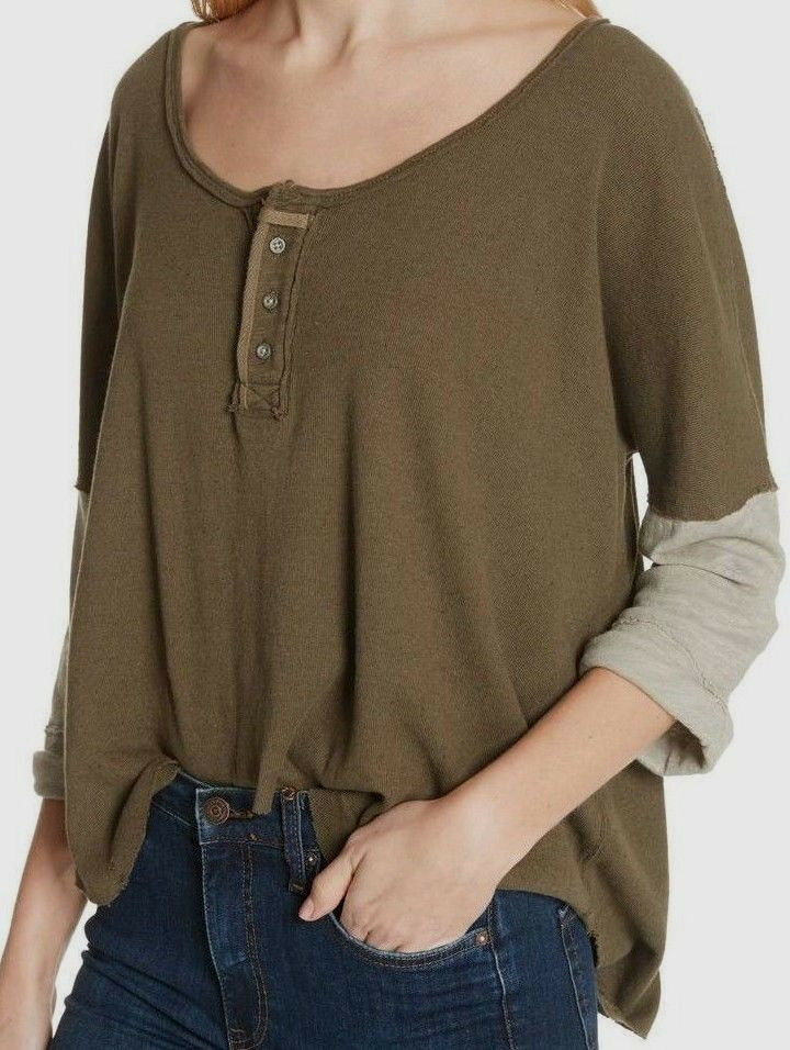 Free People OB774699 We The Free Star Henley 3 4 Quarter-Length Sleeve in Army