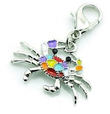 MULTI COLOUR CRAB CLIP ON CHARM FOR CHARM BRACELET OR NECKLACE