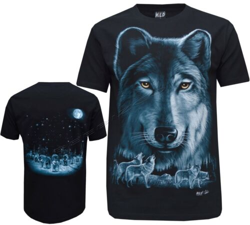 3XL Biker Wolf Eagle Native American Red Indian T Shirt Front /& Back Print M