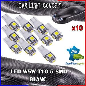 10-x-ampoule-veilleuse-Feu-LED-W5W-T10-BLANC-XENON-6500k-voiture-auto-moto-5-smd