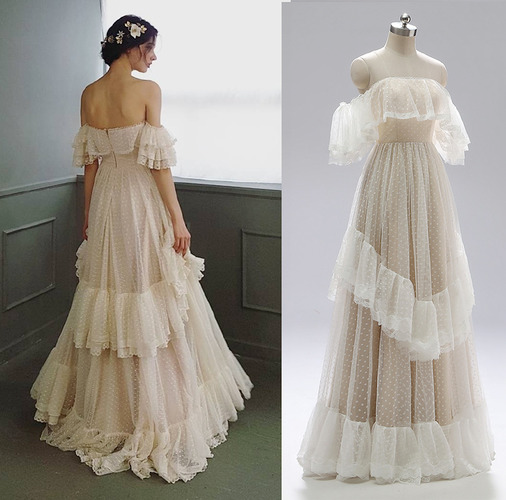 Off Shoulder Polka Wedding Dress Retro Tiered Lace Ruffle Backless Bridal Gown