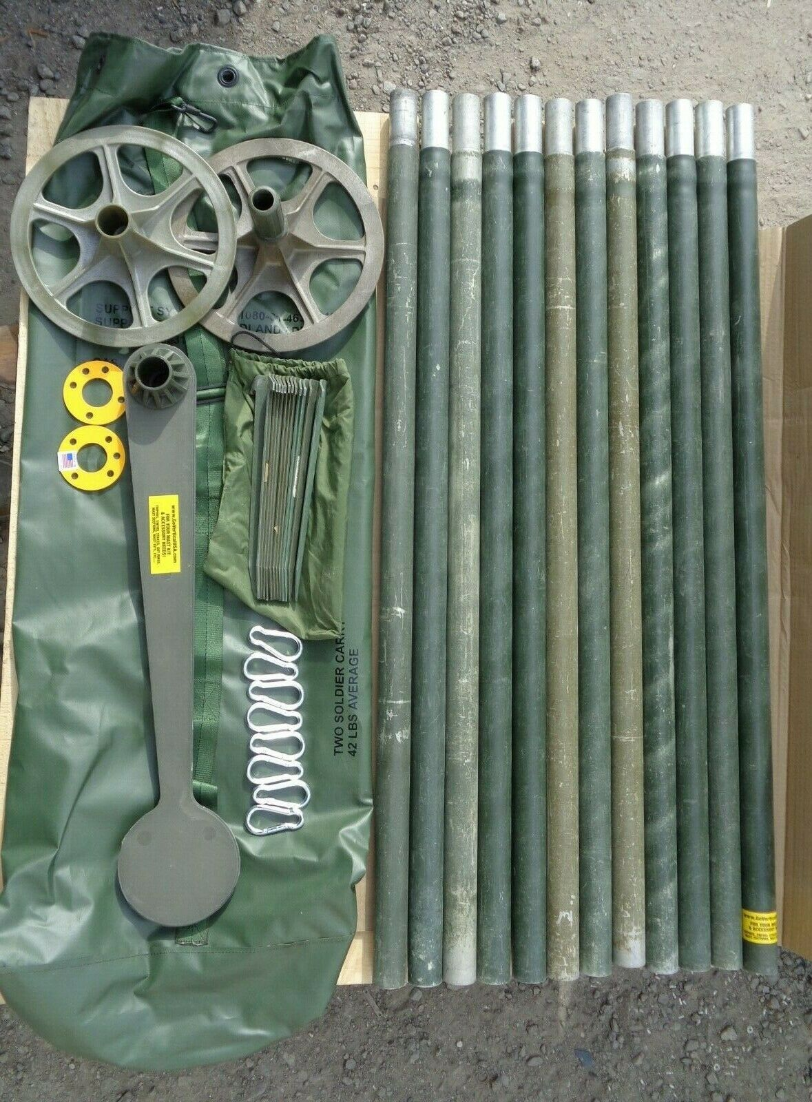 MILITARY USED SMOOTH 4' ALUMINUM ANTENNA TOWER MAST SECTION ECONOMY MAST KIT V2C. Available Now for 174.95