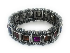 Magnetic-Bracelet-Therapy-Hematite-Bead-Stone-Multi-Color-Crystal-Stretchable