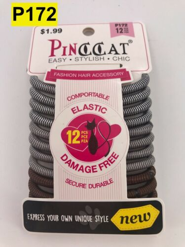PINCCAT ANTI SLIP GRIP ELASTIC DAMAGE FREE PONYTAIL HOLDER #P172 12 COUNT
