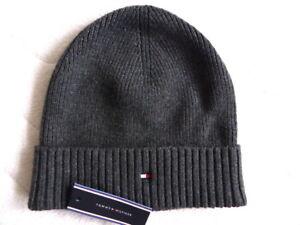 4546ba26 New TOMMY HILFIGER Dark Grey Pima Cotton / Cashmere Beanie Hat Toque ...