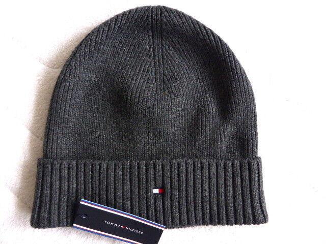 ee2a3a0e91e Tommy Hilfiger Dark Grey Pima Cotton   Cashmere Beanie Hat Toque Nes for sale  online