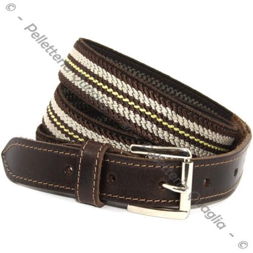 Cintura Elastica E Pelle Cuoio Uomo Donna Artigianale Marrone Moro Made In Italy