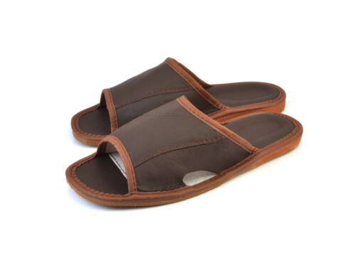 MEN/'S LEATHER HOUSE SLIPPERS SANDALS SHOES SCUFFS SIZE 8 8.5 9 10 11 12 SALE
