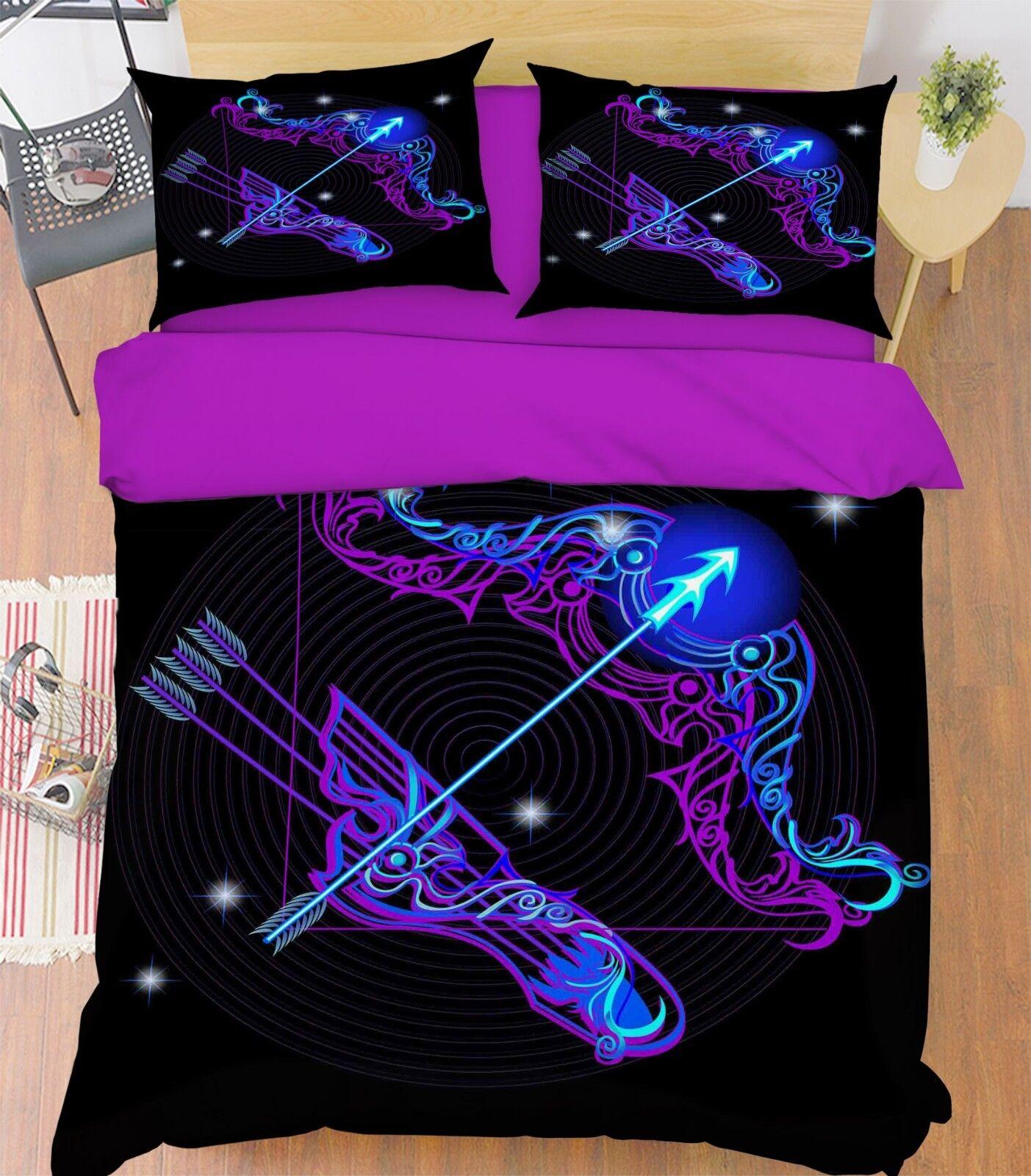 3D Sagittarius 5 Bed Pillowcases Quilt Duvet Cover Set Single Queen King AU Cobb