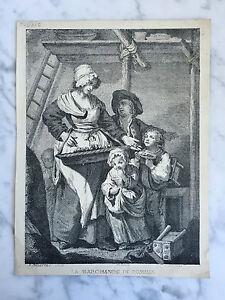 Gravur der Markt Der Äpfel Collette Imp Sarasin