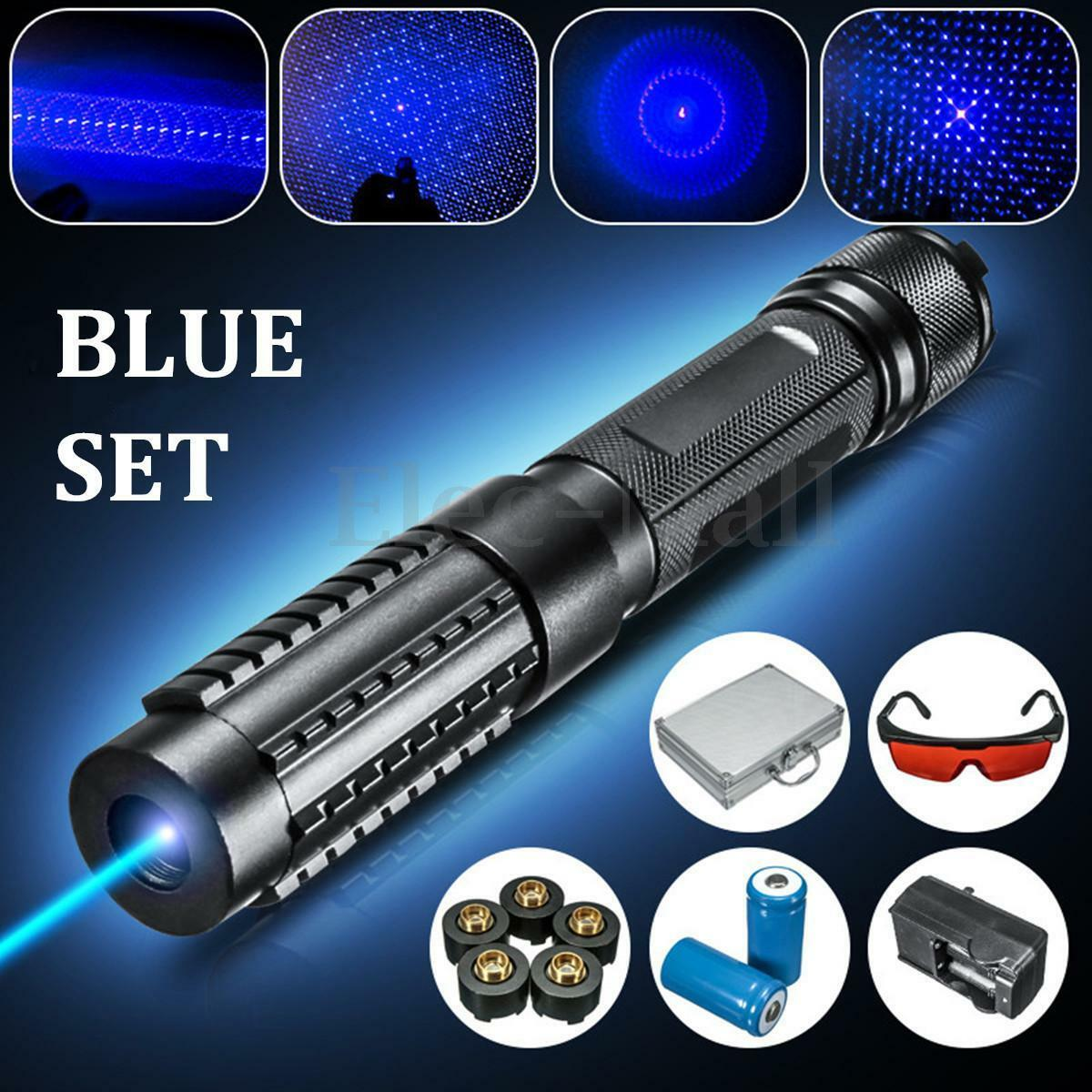 445nm bluee Light Laser Pointer Pen Beam 5 Head +2x16340 + Charger +Goggles 0.5MW