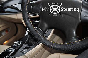 FOR-VOLVO-XC90-02-12-PERFORATED-LEATHER-STEERING-WHEEL-COVER-CREAM-DOUBLE-STITCH