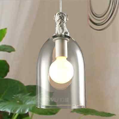 Nice DIY Ceiling Lamp Light Big Glass Cover Pendant Lighting Edison Bulb Dog