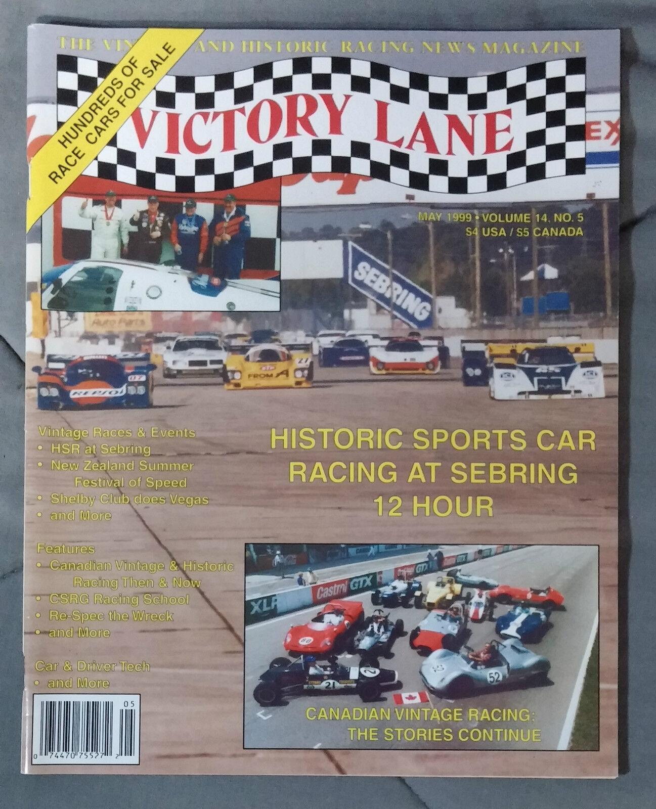 VICTORY LANE HISTORIC RACING NEWS VINTAGE MAGAZINE 1999 MAY SEBRING ...