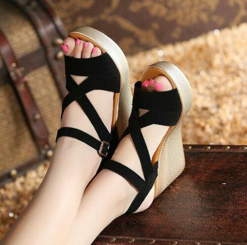 Women High Heel Wedge Gladiator Ankle Buckle Open Toe Platform Sandal Girl Shoes