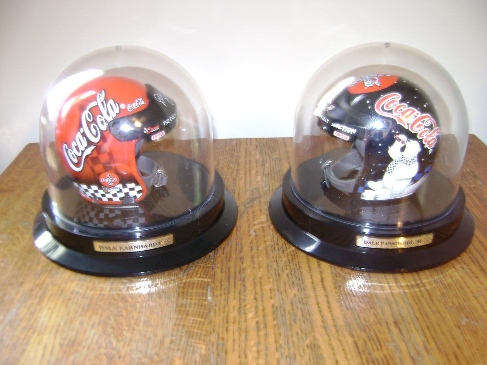 Dale Earnhardt Sr & Jr Coca-Cola & Polar Bear Helmet In Original Boxes