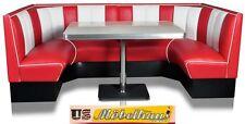 HW120/120Red American Dinerbank Sitzbank Diner Bänke Möbel 50´s Retro USA Style