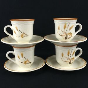 Set-of-4-VTG-Cups-and-Saucers-by-Sango-Sangostone-Autumn-Wheat-2390-Korea