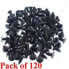 120PCs 9mm Car Auto Fender Hole Dia Plastic Rivet Fastener Push Clips Clip Black