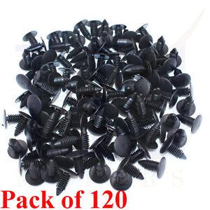 120pcs 9mm car auto fender hole dia plastic rivet fastener push clips clip black ebay. Black Bedroom Furniture Sets. Home Design Ideas